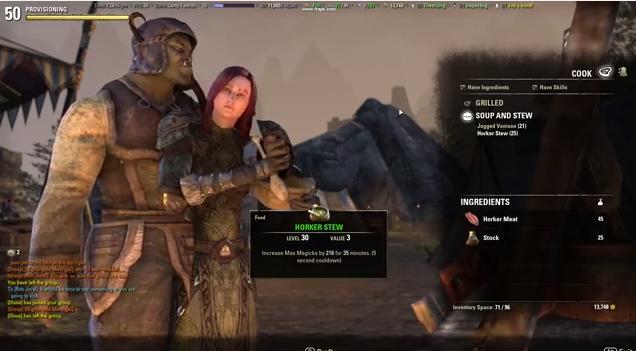 The Elder Scrolls Online Cooking Glitch