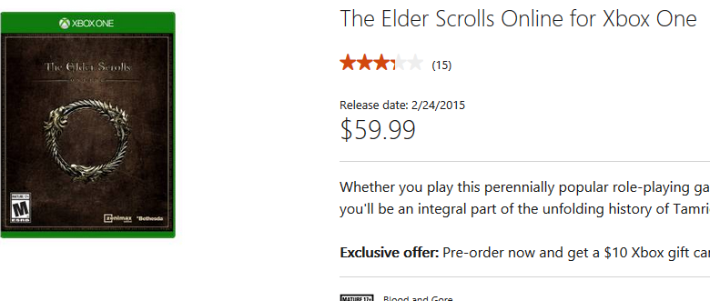 Release date for elder scrolls online for xbox one